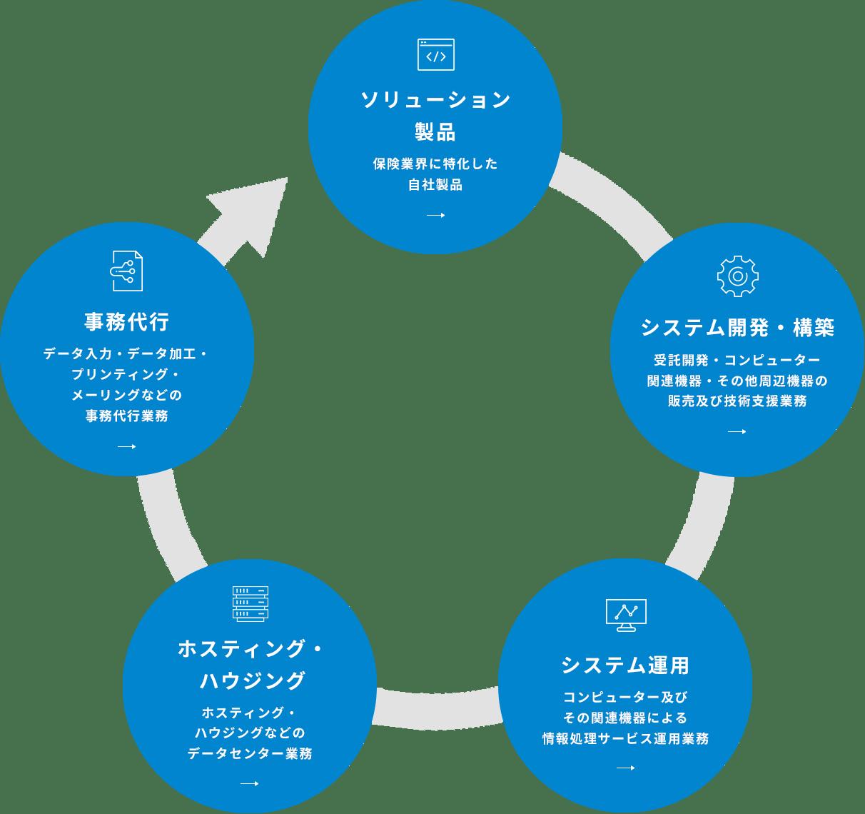 ソリューション製品(保険業界に特化した自社製品)、システム開発・構築(受託開発・コンピューター関連機器・その他周辺機器の販売及び技術支援業務)、システム運用(コンピューター及びその関連機器による情報処理サービス運用業務)、コンピューター及びその関連機器による情報処理サービス運用業務(ホスティング・ハウジングなどのデータセンター業務)、事務代行(データ入力・データ加工・ プリンティング・ メーリングなどの 事務代行業務 )